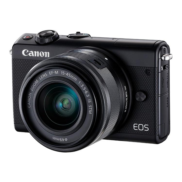 佳能EOSM100(15-45)套机黑白色 微单相机女生入门级数码相机美颜